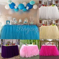 Wholesale Wedding Party Tulle Table Skirts Colorful Birthday Dessert Station Skirts Party Decoration for Weddings Table Clothes x80cm