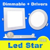 achat en gros de led panel light-Dimmable 9W / 12W / 15W / 18W / 21W CREE Led plafonniers encastrés Lampe chaud / Natural / Cool White Super-Thin Led Panel Lumières rond / carré 110-240V