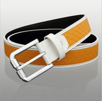 Wholesale Top Grain Leather Belts Lattice Waistband for Men Formal Pin Buckle Waist Belt Brand Designer CH900037