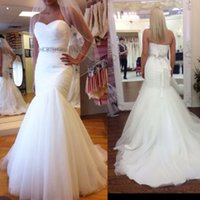 Wholesale Tulle mermaid wedding dress sweetheart waist beading sash lace up back bridal wedding dresses wedding gown