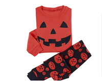 Wholesale Halloween Pajama Set Kids Halloween clothes Baby Pumpkin sets two pieces Boy Girl Pajama suits Cotton Baby Clothing DD
