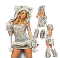 adult cottons - Women Wolf Costumes for Adults Sexy Wolf Animal Romper Halloween Werewolf Costume Night club