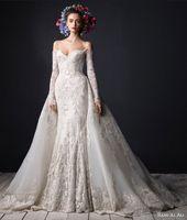 ali flowers - Rami Al Ali Luxury Muslim Sheer Mermaid Wedding Dress Ivory Applique Lace Crystal Beads Floor Length Detachable Train Bridal Gown