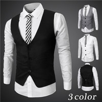 Wholesale HOT Sale Fashion Mens Slim Fit Vests Suit Casual Formal Tuxedo Dress Waistcoat Style Wedding Outerwear