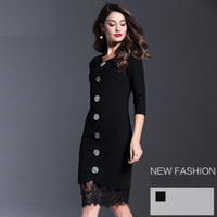 basic skirt - 2016 Brand New Cotton Lace Basic Women Dress Autumn European American Top Fashion Style Three Quarter Sleeve Sexy Skirt YM16615