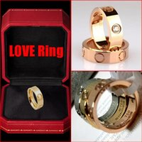 Wholesale Top Quality Titanium Steel Screw Gemstone Rings K Real Gold Plated Wedding Love Ring With LOGO Original Box For Christmas couple rings