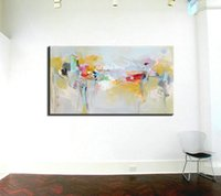 acrylic panel suppliers - Large canvas wall art acrylic modern decorative pictures abstract painting hand oil painting set supplier for living room wall