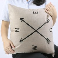 Wholesale New Brand Compass Cotton Linen Square Vintage Throw Pillow Case Shell Nice Gift