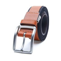 belts with removable buckles - Men Outdoors Wearable Genuine Cowskin Leather Inlay Casual Canvas Nylon Web Belt with Removable Znic Alloy Buckle by Rockway
