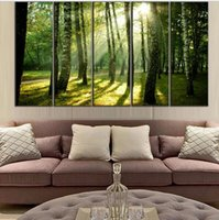 beautiful green scenery - 5 Pieces Green Forest Art Modern Scenery Canvas Painting On Canvas Beautiful Woods Landscape Oil Painting By Numbers