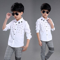 Wholesale White Shirts For Boys Star Boy Shirt Cotton Boys Shirts Baby Boy Clothes Long Sleeve Shirts For Boy Children