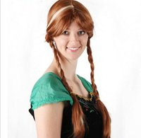 Wholesale hot princess frozen snow queen elsa anna style fashion brown cosplay wig for adult woman cartoon girl hair