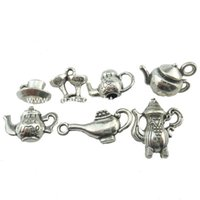 antiques tools - 2set Alloy Antique Jewelry Vintage Food Tool Teapot Coffee Pot Pendant