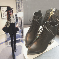 Wholesale Martin High Heel Boots Women s PU Leather Black Short Boots Pointed Boots Zip Fashion Boots xue8 zcc