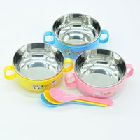 Wholesale Infant tableware bowl with cover with spoon stainless steel to prevent scalding heat proof bowl fell g cartoon