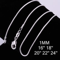 Wholesale 100pcs MM Newest Classic Fashion Chain Necklaces Silver Plated Rolo Chain Necklaces Simple Snake Chain Jewelry Gift quot quot quot quot quot