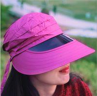 achat en gros de lentilles dame-La nouvelle taille peut être ajustée pour soutenir gros Ladies Day lentille de protection marée d'été chapeau de soleil UV visualisation plage vide chapeau haut