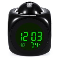 lcd talking alarm clock - 2016 New Arrival Multifunction Digital Clocks Vibe LCD Voice Talking Projection Time Temp Display Alarm Clock