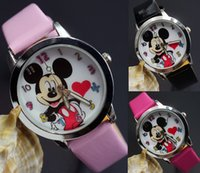 beautiful watch dial - Cartoon Beautiful girl Mickey Minnice mouse style Color number dial children students girl s leather quartz wrist watch