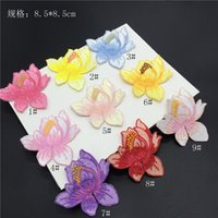 accessories for sewing bags - 50pcs Lotus Embroidery Patch Flower Appliques Iron On Patches For Clothes Bags Sew On Applique Clothing Accessory