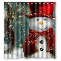 Wholesale Christmas Tree Snowman Santa Claus Design of Polyester Fabric Waterproof Bathroom Shower Curtains with Hooks