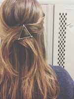 Wholesale Hot Sale Women s christmas gifts fashion gold silver plated metal triangle moon hair clip jewelry for women accessories ZA0026