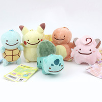 Wholesale 5pcs set Styles Poke toy Pikachu Charmander Squirtle Bulbasaur Clefairy Ditto Metamon Plush Doll quot