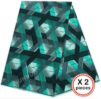 Wholesale 2 pieces yards total veritable super hollandais wax African holland printed fabric Teal