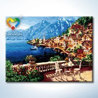 baby town - Beautiful Town DIY Painting Baby Toys x80cm Digital Canvas Oil Painting Kids Drawing Toys Set for Bar Decoration
