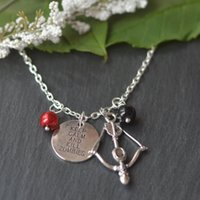 antique crossbow - 12pcs Antique silver The Walking Dead Inspired Necklace keep calm and kill zombies charm bead crossbow charm pendant necklace