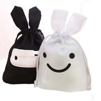 beverage pouch - 200pcs White Black Easter Bunny Ears Bag Gift Candy Travel Lunch Ninja Rabbit Pouch Laundry Drawstring Storage Bag Hot Sale ZA0837