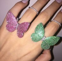 asian wedding sets - luxury design made of sterling silver the moving butterfly ring with white blue green red or black zircon wedding jewelry