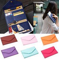 Wholesale 10 colors Credit ID Card Holder Travel Passport Cash Organizer Bag Purse Wallet Handbags Multifunctional Clutch Leather Mailer Bag SJM06041