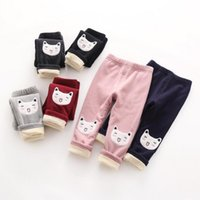 baby girl kitten - Kitten embroidered casual pants soft thickening Leggings fashion cute tight trousers for baby girls kids children pants winter