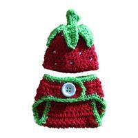 baby shower fruit - Newborn Strawberry Costume Handmade Crochet Baby Boy Girl Fruit Hat Diaper Cover Set Infant Halloween Costume Photo Prop Baby Shower Gift