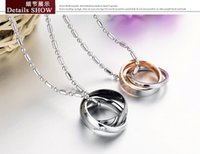 Wholesale New Style Lovers Necklace Jewelry Accessories Alloy Titanium Alloy Double loop Diamond Rose Gold Sterling Silver Pendents Necklace Ring