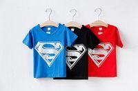 Wholesale New Summer Fashion Cotton Girls Boys Clothes Superman Children T Shirts Kids Boy Short Sleeve Tshirts