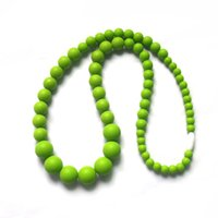 Wholesale MIX COLOR Teething Necklaces Food Grade Silicone Jewels Baby Chew Necklace Silicone Beads Baby Teethers