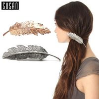 Wholesale X Fashion Women Lady Gold Silver Leaf Hair Clip Shine Rhinestone Hairpin Barrette Hair Decor Accessories