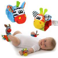 Wholesale 2016 Sozzy Lamaze Style Sozzy rattle Wrist donkey Zebra Wrist Rattle and Socks toys set wrist socks