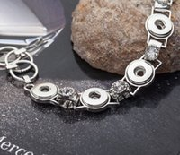 Wholesale fashion New flower silver mm press snap button chain bracelet with white rhinestones fit ginger jewelry