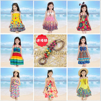Wholesale Baby Rainbow Beach Dress Long Bohemian Dress Kids Princess Flower Dress With Necklace Girls Sleeveless Cotton Dress Floral Sundress B447