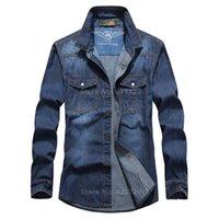 Wholesale New Mens Fashion Jean Shirt All Cotton Plus Size XXXL XL XL High Quality Denim Shirts Loog Sleeve