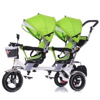 baby bike seat - Hot Selling Twins Double Child Bike Stroller Double Seats Baby Tricycle Folding Three Wheels Shockproof Twins Pushchairs JN0098