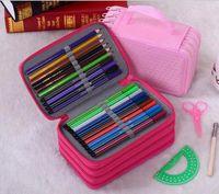 Wholesale 72 Holders Layer Portable School Pencils Case Pouch Brush Pockets Bag Pencil Holder Case School Supplies Wh