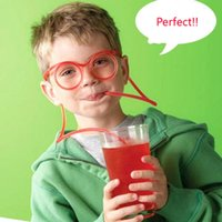 Wholesale 2PCS Retail Package Crazy Fun Soft Glasses Drinking Straw Joke Gag Party Loot Bag Straws