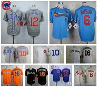 Wholesale 10 Ron Santo Jose Fernandez Kyle Schwarber Stan Musial Chicago jersey home away jerseys size small S xl top quality Cheap