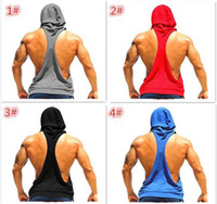 Men 100% Cotton as picture show 100pcs 4 colors Cotton Men hooded tank top Gym Clothes Tank Tops Stringer Singlets Fitness Gorilla Wear Sleeveless Shirt Sports Vests D701