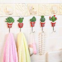 Wholesale 5pcs Korea potted succulents wall hooks Cute Self Adhesive hanger key holder organizer kitchen home decor