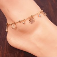 ankle bracelet free shipping wholesale - Anklets Jewelry Fashion Women High Quality Gold Plated Alloy Bowknot Flower Chain Ankle Bracelets BR248